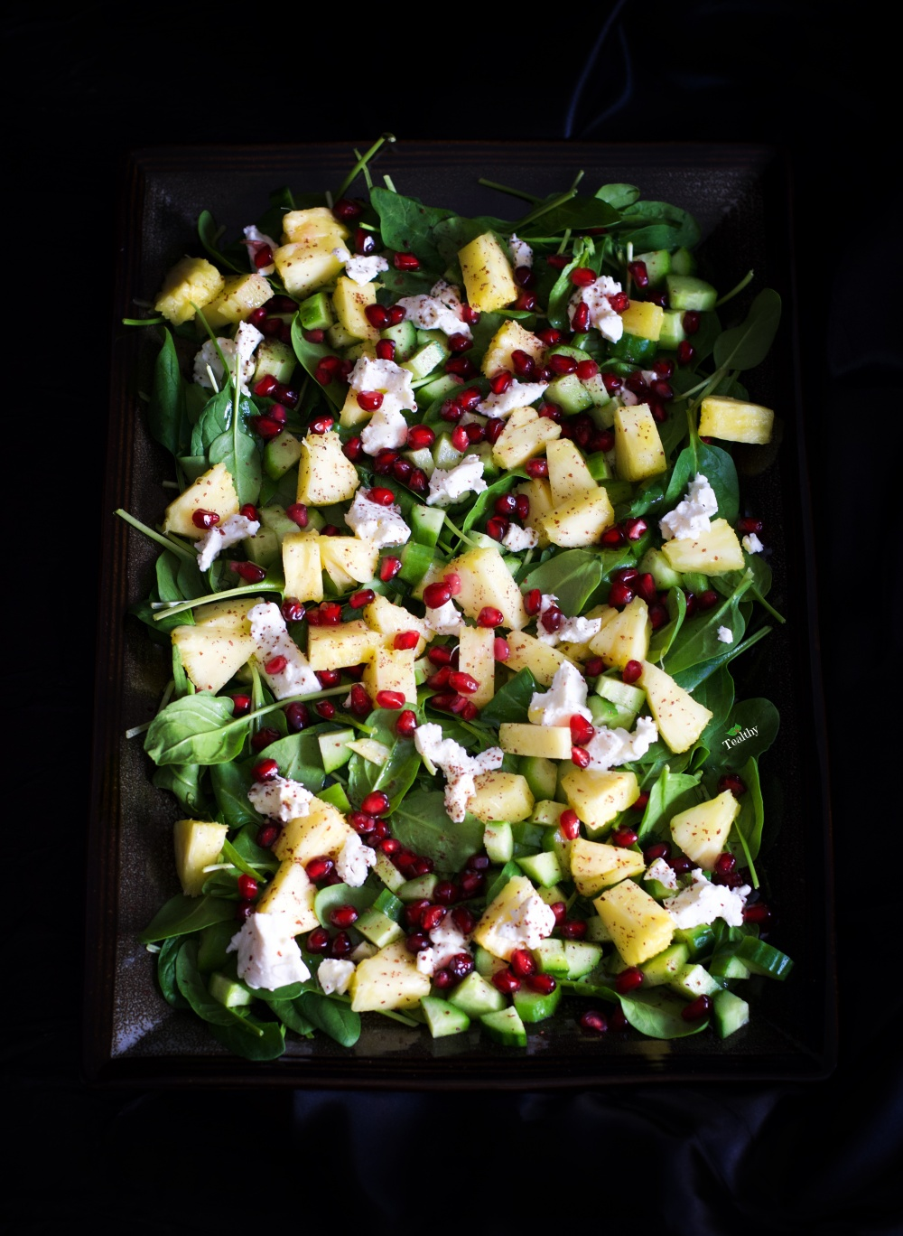 Fruit and veggie salad with watermark